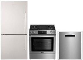 "3-Piece Kitchen Package with BRFB1812SSLN 30"" Counter Depth Bottom Freezer Refrigerator, BGR30420SS 30"" Slide-In Gas Range, and a free DWT58500SS 24"" Built In Fully Integrated Dishwasher in Stainless Steel"