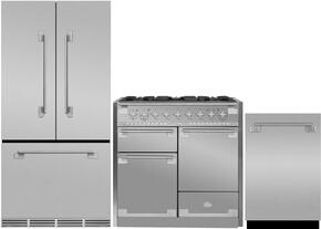 "3-Piece Stainless Steel Kitchen Package with MELFDR23SS 36"" French Door Refrigerator, AEL48DFSS 48"" Freestanding Dual Fuel Range, and AELTTDWSS 24"" Fully Integrated Dishwasher"