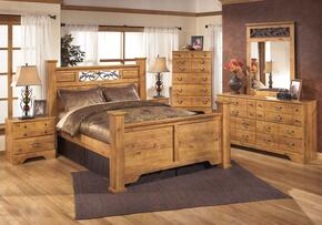 Bittersweet King Bedroom Set with Poster Bed, Dresser, Mirror and Nightstand in Light Wood