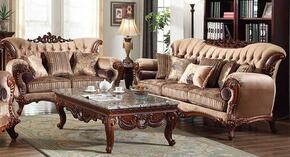 Bordeaux 605-S-L 2 PC Living Room Set with Sofa and Loveseat in Rich Cherry Finish
