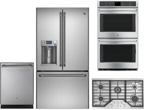 "4 Piece Stainless Steel Kitchen Package With CYE22TSHSS 36"" French Door Refrigerator, CGP650SETSS 36"" Gas Cooktop, CT9550SHSS 30"" Electric Double Wall Oven and CDT835SSJSS 24"" Dishwasher For Free"