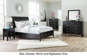 Braflin King Bedroom Set with Storage Panel Bed, Mirror, Dresser and Single Night Stand in Black