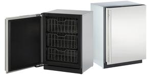 "Modular 3000 Series 2-Piece Stainless Steel Package with U3024FZRS01A 24"" Left Hinge Upright Freezer and 3024RFS00 24"" Right Hinge All-Refrigerator"