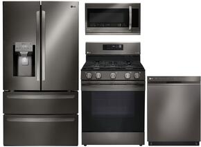"4-Piece Kitchen Package with LMXS28626D 36"" French Door Refrigerator, LRG3061BD 30"" Freestanding Gas Range, LMVM2033BM 30"" Over the Range Microwave, and LDP6797BD 24"" Built In Fully Integrated Dishwasher in Black Stainless Steel"