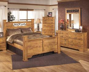 Bittersweet King Bedroom Set with Poster Bed, Dresser, Mirror and Chest in Light Wood