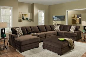 1835005980SEC Barstow 4 PC Sectional + Ottoman with Graffiti Espresso Toss Pillows, Reversible Seat Cushions, Sinuous Springs and Hi-Density Foam Core Cushions in Sharpie Chocolate