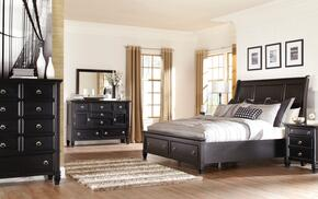 Greensburg Queen Bedroom Set with Storage Bed, Dresser, Mirror and Chest in Black