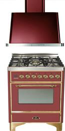 "2-Piece Burgundy Kitchen Package with UM76DMPRB 30"" Freestanding Dual Fuel Range and UAM76RB 30"" Wall Mount Range Hood"