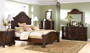 North Shore King Bedroom Set with Panel Bed, Dresser and Mirror in Dark Brown
