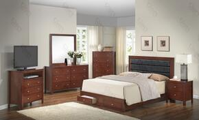 G2400CQSBSET 6 PC Bedroom Set with Queen Size Panel Bed + Dresser + Mirror + Chest + Nightstand + Media Chest in Cherry Finish