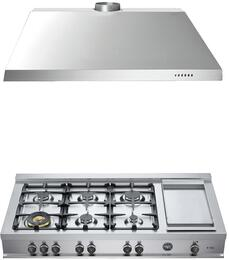 "2-Piece Stainless Steel Kitchen Package with CB48M6G00XLP 48"" Liquid Propane Rangetop and KU48PRO1X14 48"" Range Hood"