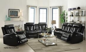 Isidro 52255SLR 3 PC Living Room Set with Sofa + Loveseat + Recliner in Black Color