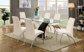 Svana Collection CM3382T6WSC 7-Piece Dining Room Set with Rectangular Table and 6 White Side Chairs in Chrome