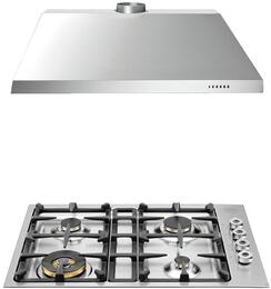 "2-Piece Stainless Steel Kitchen Package with QB30400X 30"" Natural Gas Cooktop and KU30PRO1X14 30"" Canopy Hood"