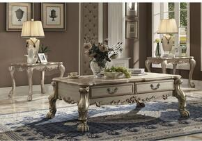 Dresden 82090CET 3 PC Living Room Table Set with Coffee Table + 2 End Tables in Gold Patina Finish