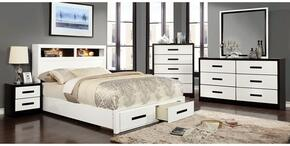 Rutger Collection CM7298CKBDMCN 5-Piece Bedroom Set with Queen Storage Bed, Dresser, Mirror, Chest and Nightstand in White Finish