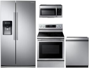 "4-Piece Stainless Steel Kitchen Package with RS25J500DSR 36"" Side-By-Side Refrigerator, NE59J3420SS 30"" Freestanding Electric Range, DW80J3020US 24"" Full Console Dishwasher and ME16H702SES 30"" Over The Range Microwave"