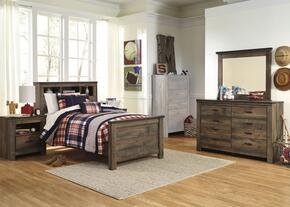 Trinell Twin Bedroom Set with Bookcase Bed, Dresser, Mirror and Nightstand in Brown