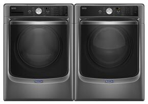 "Metallic Slate Front Load Laundry Pair with MHW8200FC 27"" Washer and MED8200FC 27"" Electric Dryer"