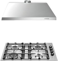 """2-Piece Stainless Steel Kitchen Package with Q30400XLP 30"""" Low Edge Liquid Propane Cooktop and KU30PRO1X14 30"""" Canopy Hood"""