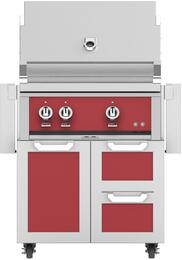 "30"" Freestanding Natural Gas Grill with GCR30RD Tower Grill Cart with Double Drawer and Door Combo, in Matador Red"