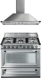 "2-Piece Kitchen Package with TRU90X 36"" Freestanding Dual Fuel Range, and KTU36X 36"" Wall Mount Convertible Hood"