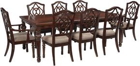 Asha Collection 9-Piece Dining Room Set with Dining Room Table, 6 Side Chairs and 2 Arm Chairs in Reddish Brown