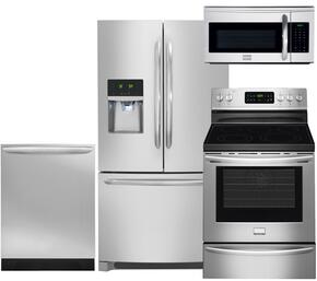 "Gallery 4-Piece Smudge-Proof Stainless Steel Kitchen Package with FGHF2366PF 36"" Freestanding French-Door Refrigerator, FGEF3035RF 30"" Freestanding Electric Range, FGID2466QF Fully Integrated Dishwasher and FGMV175QF Over-the-Range Microwave"