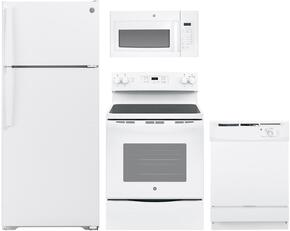 """4 Piece kitchen Package with JBS60DKWW 30"""" Electric Freestanding Range, JVM3160DFWW Over the Range Microwave Oven, GSD2100VWW 24"""" Built In Full Console Dishwasher and GTS18GTHWW  28"""" Freestanding Top Freezer Refrigerator in White"""