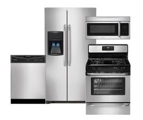 "FFHS2622MS 36"" Freestanding Side-by-Side Refrigerator 4-Piece Stainless Steel Kitchen Package with FFGF3053LS 30"" Freestanding Gas Range, FFBD2406NS Full Console Dishwasher and FFMV164LS Over-the-Range Microwave"