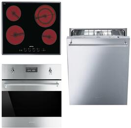 """3-Piece Stainless Steel Kitchen Package with S2641TCU 24"""" Smooth Cooktop, SU45MCX1 24"""" Single Wall Oven, and STU8649X 24"""" Fully Integrated Dishwasher"""