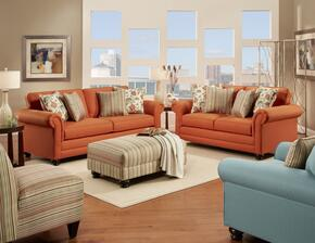 632239031SLO2CH Trieste Sofa + Loveseat + Ottoman + Accent Chair + Armless Chair with 8.5 Gauge Medium Loop Sinuous Wire Seat Springs, Toss Pillows, High Density Urethane Foam Cushions and Hardwoods in Sterling Orange
