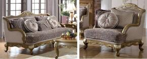 Palmas 606-S-C 2 Piece Living Room Set with Sofa and Chair in Pewter Gold Finish