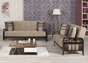 Studio NYC SNSBLSMBN  Package Containing Sofa Bed and Convertible Love Seat with Wooden Frame, Stainless Steel Accents and Tufted Detailing in Magnum Brown