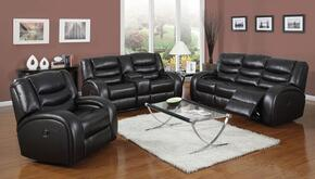Dacey 50740SLRT 5 PC Living Room Set with Sofa + Loveseat + Recliner + Coffee Table + End Table in Black Color