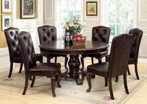 Bellagio Collection CM3319RT6FLSC 7-Piece Dining Room Set with Round Dining Table and 6 Leatherette Side Chairs in Brown Cherry Finish