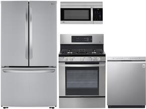 "4 Piece Kitchen package With LRG3061ST 30"" Gas Range, LMV1683ST Over The Range Microwave, LFCS25426S 36"" French Door Refrigerator and LDF5545ST 24"" Built In Dishwasher In Stainless Steel"