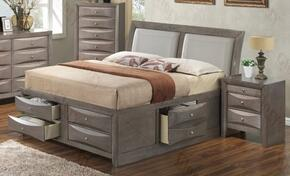 G1505IQSB4CHN 3 Piece Set including  Queen Size Bed, Chest and Nightstand in Gray