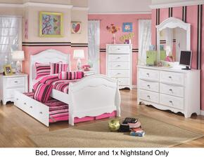 Exquisite Twin Bedroom Set with Trundle Bed, Dresser, Mirror and a Single Nightstand in White