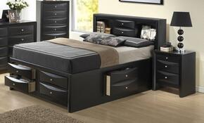 G1500GKSB3CHN 3 Piece Set including King Size Bed, Chest and Nightstand  in Black