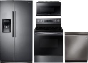 "4-Piece Black Stainless Steel Kitchen Package with RS25J500DSG 36"" Side by Side Refrigerator, NE59J7630SG 30"" Electric Freestanding Range, DW80J7550UG 24"" Built In Dishwasher and ME21H706MQG 30"" Over the Range Microwave"