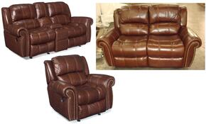 SS601 3-Piece Living Room Set with Manual Entertainment Sofa, Loveseat and Glider Recliner Chair in Cognac