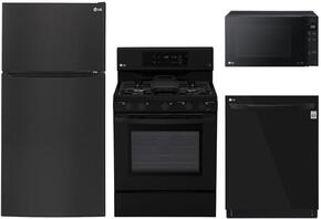 "4-Piece Kitchen Package with LTCS24223B 33"" Top Freezer Refrigerator, LRG3193SB 30"" Freestanding Gas Range, LMC1575SB 22"" Countertop Microwave, and LDP6797BB 24"" Built In Fully Integrated Dishwasher in Black"
