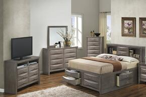 G1505GKSB3CHDMTV2 5 Piece Set including  King Size Bed, Chest, Dresser, Mirror and Media Chest in Gray