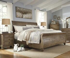Goodwin Collection Queen Bedroom Set with Sleigh Bed, and Nightstand in Light Brown