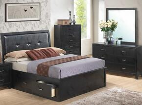 G1250BKSBDM 3 Piece Set including King Size Storage Bed, Dresser and Mirror  in Black