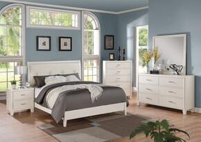 Tyler 22540Q5PC Bedroom Set with Queen Size Bed + Dresser + Mirror + Chest + Nightstand in White Color