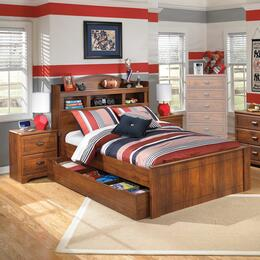 Barchan Full Bedroom Set with Bookcase Panel Bed with Trundle and 2 Nightstands in Warm Brown