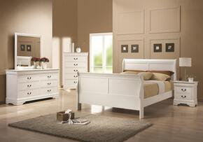204691T6P Louis Philippe 204 6-Piece Bedroom Set with Twin Sleigh Bed, Chest, Dresser, Mirror and Two Nightstands