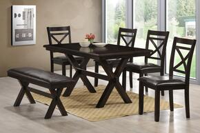 5009-590102 Austin  Dining Table, Bench and Chair with Molding Detail, Distressed Detailing and Stretchers in Ebony
